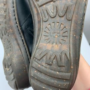 UGG Shoes - UGG Anila Black Fur Leather Clogs Sz 9
